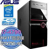 華碩B85平台【銀翼天罰】intel  i7-4790 四核 GTX 750-1G獨顯 1TB固混碟 燒錄電腦