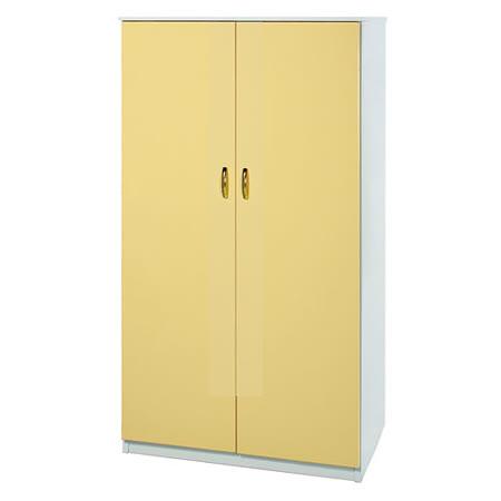 Bernice-3尺防水防蛀塑鋼雙吊多功能衣櫃(黃白)