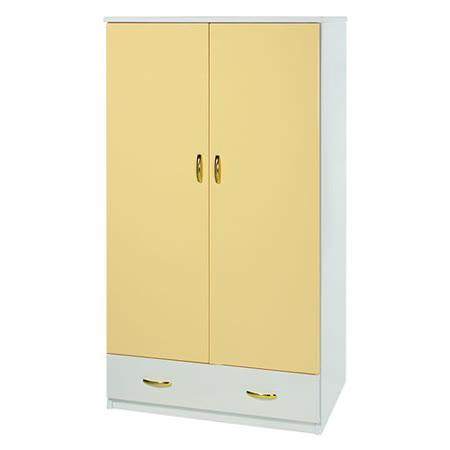 Bernice-3尺防水防蛀塑鋼雙吊一抽衣櫃(黃白)