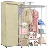 【克諾斯】120*45*180八層防塵衣櫥架(米色)