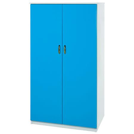 Bernice-3尺防水防蛀塑鋼雙吊多功能衣櫃(藍白)