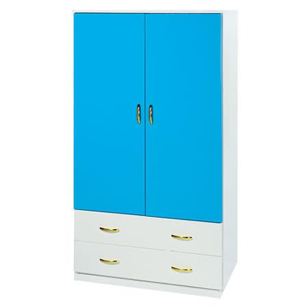 Bernice-3尺防水防蛀塑鋼單吊二抽衣櫃(藍白)