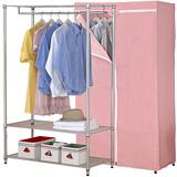 【克諾斯】90*45*180三層防塵衣櫥架(粉紅點點)