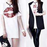 《韓國K.W.》亮片香唇長版上衣