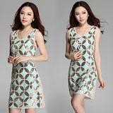 《韓國K.W.》幾何魅力.彈力修身洋裝