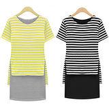 《韓國K.W.》經典假兩件式條紋連衣裙
