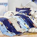 【BEDDING】瘋狂賽車 100%棉雙人涼被床包組