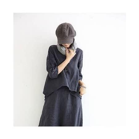 【Maya 名媛】(M~XL)自然麻 大圓領七分袖 倒V字下擺設計上衣 襯衫-深藍色