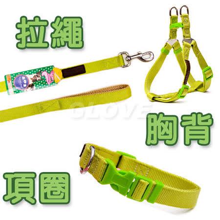 Touchdog日系單色尼龍拉繩+胸背+項圈三件組(共12色)M號