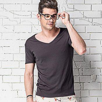 MORINO摩力諾 速乾涼感短袖V領衫-黑色 M~XL
