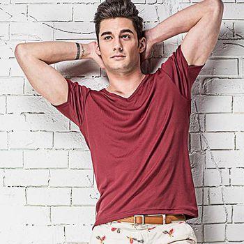 MORINO摩力諾 速乾涼感短袖V領衫-紅色 M~XL