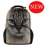 【DOUBLE JJ】3D動物15.6吋休閒後背包(貓咪)