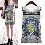 韓版限定【Sweet Dress】航海徽記短袖長版T恤(共二色)