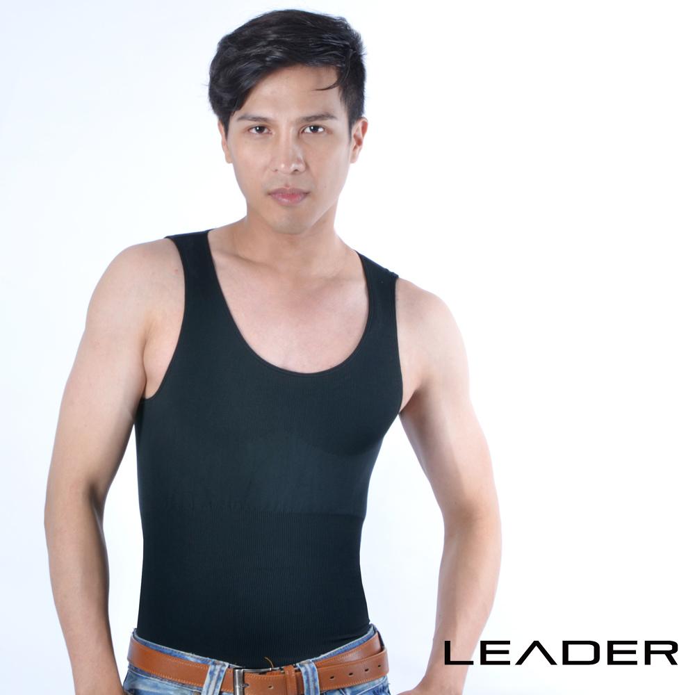 【LEADER】coolmax涼感排汗快乾背心 男性塑身衣 (黑色)