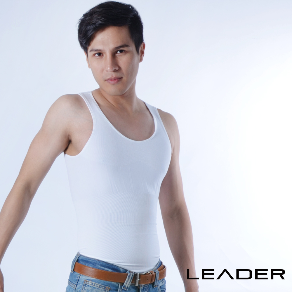 【LEADER】coolmax涼感排汗快乾背心 男性塑身衣 (白色)