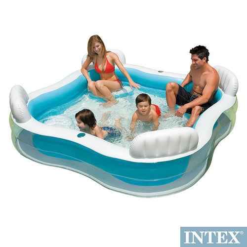 【INTEX】方型有靠墊透明戲水游泳池充氣泳池 229*229cm 882L   5647