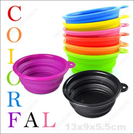 《彩色寵物外出摺疊碗》食用級安全矽膠.輕巧好攜帶