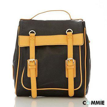 COMMIE 日韓Mink甜心魅力復古學院風皇家盾牌雙皮帶滾邊優質皮革後背包 CM2388