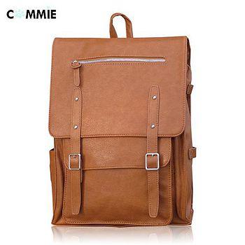 COMMIE 正韓風學院獨特鉚釘造型優質皮革後背包 TP282