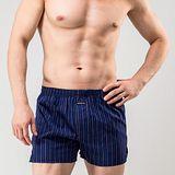 《MORINO摩力諾》耐用織帶格紋平口褲-深藍條紋M~XL