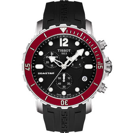 TISSOT Seastar 1000 海洋之星潛水計時腕錶-黑x紅圈 T0664171705701