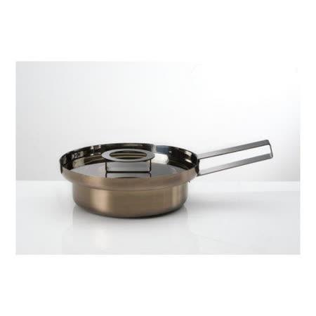 義大利【KnIdustrie】肯廚-『FoodWear食同系列』26公分不鏽鋼淺身平底煮煎鍋(含蓋+把)