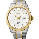 SEIKO 紳士風格太陽能時尚腕錶-銀x雙色版 V158-0AS0KS