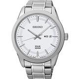 SEIKO 紳士風格太陽能時尚腕錶-銀 V158-0AS0S