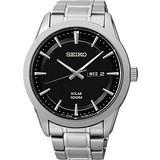 SEIKO 紳士風格太陽能時尚腕錶-黑 V158-0AS0D