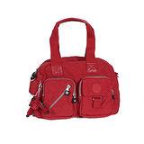 【Kipling】BASIC系列 肩背2用雙口袋機車包 番茄紅 K-374-3636-153