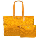 COACH 輕量尼龍子母肩背購物包(加大款/橘黃)