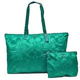 COACH 輕量尼龍子母肩背購物包(大/綠)