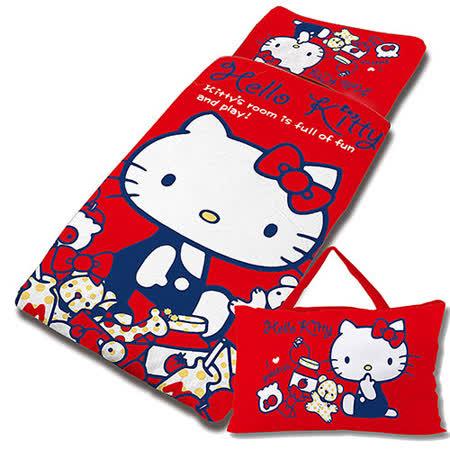 【享夢城堡】HELLO KITTY 我的遊戲房系列-兒童睡袋(紅)