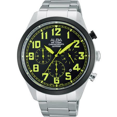 ALBA 街頭玩酷時尚三眼計時腕錶-黑x綠時標 VD53-X170G