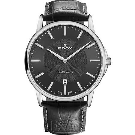 EDOX Les Bemonts 薄曼系列石英腕錶-黑 E56001.3.GIN