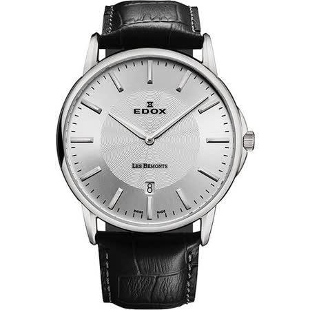 EDOX Les Bemonts 薄曼系列石英腕錶-銀 E56001.3.AIN