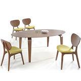 【幸福屋】亞帝6.6尺胡桃橢圓餐桌椅組(一桌四椅)