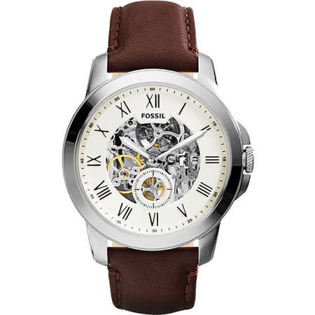 FOSSIL AUTOMATIC系列 領導風範都會時尚機械錶-銀x咖啡 ME3052
