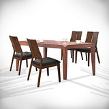 【幸福屋】摩奇5尺胡桃長方餐桌椅組(一餐四椅)