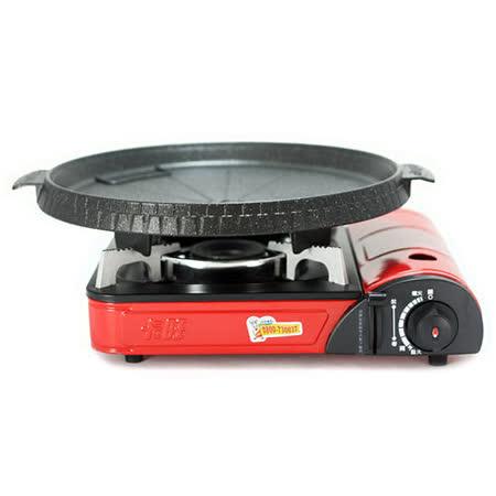 K-ONE卡旺-攜帶式卡式爐K1-111V + 韓國Joyme火烤兩用圓形烤盤NU-O