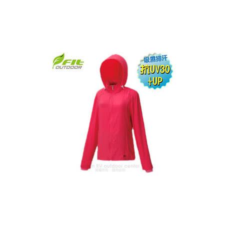 【FIT】女新款 彈性吸排抗UV 防曬外套.透氣外套.薄夾克/排汗.吸濕.輕量.快乾.休閒時尚款/ ES2304 玫紅色