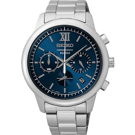 SEIKO 尊爵羅馬三眼計時腕錶-藍 6T63-00N0B