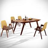 【幸福屋】斯里蘭6尺胡桃長方餐桌椅組(一桌四椅)