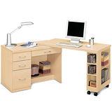 日式量販 多功能4尺白橡移動書桌