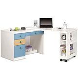 日式量販 變形機能4尺粉藍多功能書桌