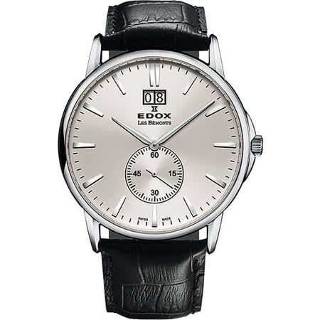 EDOX Les Bemonts 薄曼系列大視窗小秒針腕錶-銀 E64012.3.AIN