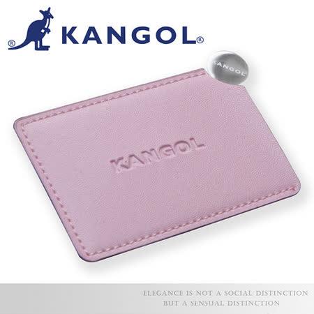 【KANGOL】英式時尚鏡面 馬卡龍五色皮革套 質感拋光不鏽鋼鏡子 雷射LOGO-粉KG1102-33