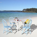 (時尚風情)莎莎3.5尺白色圓型餐桌椅組(一桌四椅)