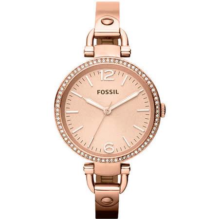 FOSSIL 俏皮女孩晶鑽時尚腕錶-玫塊金 ES3226