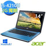 Acer E5-471G-582P 14吋 第四代i5-4210U Win8.1 獨顯高效能筆電 (藍)
